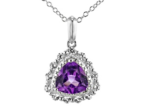 Amethyst Rhodium Over Silver Pendant W/chain 2.25ctw