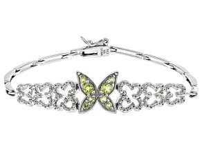 Peridot Rhodium Over Sterling Silver Bracelet 0.35ctw