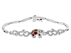 Garnet Rhodium Over Sterling Silver Bracelet  0.25ctw