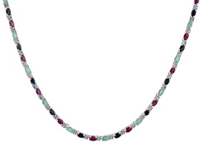 Multi-gemstone Rhodium Over Sterling Silver Necklace 15.60ctw