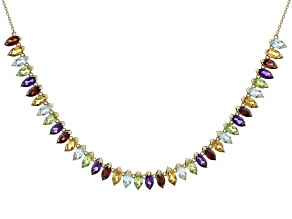 Multi Gemstone 10k Yellow Gold Necklace