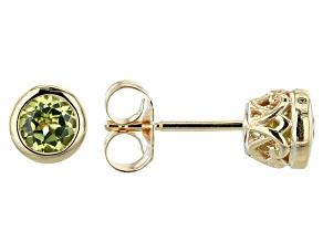 Green Peridot 10k Yellow Gold Stud Earrings 1.05ctw