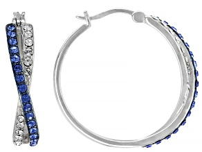 Blue And White Swarovski Crystal Rhodium Over Sterling Silver Hoop Earrings