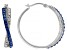 Blue And White Swarovski Elements™ Crystal Rhodium Over Sterling Silver Hoop Earrings