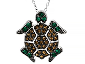 Brown And Green Crystal Rhodium Over Sterling Silver Turtle Pendant With Chain