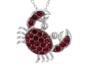 Red Crystal Rhodium Over Sterling Silver Crab Pendant With Chain