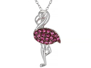 Pink Crystal Rhodium Over Sterling Silver Flamingo Pendant With Chain