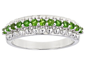 Chrome Diopside Rhodium Over Sterling Silver Ring 0.54ctw