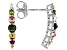 Multi Tourmaline Rhodium Over Sterling Silver Earrings 0.58ctw