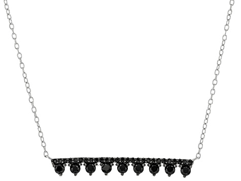 Black Spinel Rhodium Over Silver Bar Necklace 0.63ctw