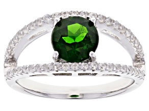 Green Chrome Diopside Rhodium Over Sterling Silver Ring1.76ctw