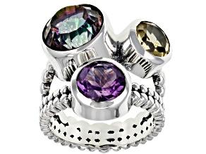 Multi Color Quartz Sterling Silver 3- Stone Ring 4.50ctw