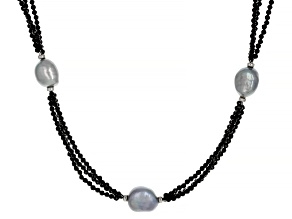 Black Spinel Rhodium Over Sterling Silver Necklace 35.00ctw