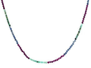 Emerald, Ruby, And Sapphire Rhodium Over Sterling Silver Beaded Necklace