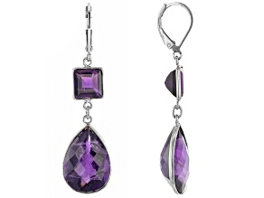 Purple Amethyst Rhodium Over Sterling Silver Earrings 5.00ctw
