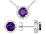 Purple Amethyst Rhodium Over Sterling Silver Stud Earrings And Necklace Set 2.63ctw