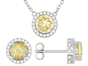 Yellow Citrine Rhodium Over Sterling Silver Stud Earrings And Necklace Set 2.63ctw