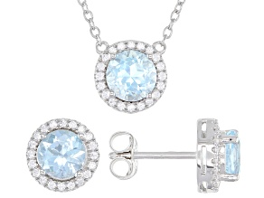 Sky Blue Topaz Rhodium Veer Sterling Silver Stud Earrings And Necklace Set 3.33ctw