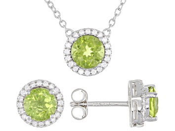 Picture of Green Peridot Rhodium Over Sterling Silver Stud Earrings And Necklace Set 3.12ctw