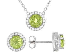 Green Peridot Rhodium Over Sterling Silver Stud Earrings And Necklace Set 3.12ctw