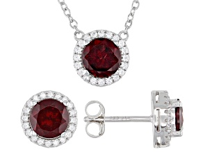 Red Garnet Rhodium Over Sterling Silver Stud Earrings And Necklace Set 3.63ctw