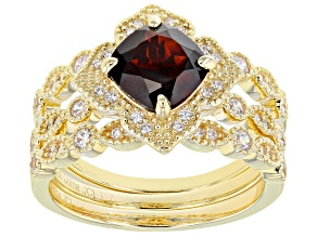 Red Garnet 18k Yellow Gold Over Sterling Silver Ring Set Of 3 2.37ctw