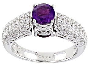 Purple Amethyst Rhodium Over Sterling Silver Reversible Ring 2.30ctw