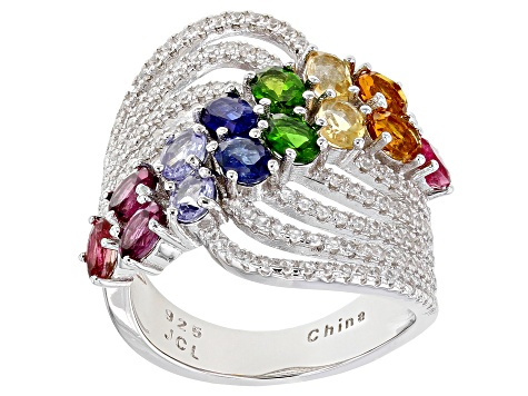 Multi Gemstone Rhodium Over Sterling Silver Ring 3.65ctw
