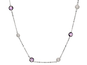 Amethyst Rhodium Over Sterling Silver Necklace 10.80ctw