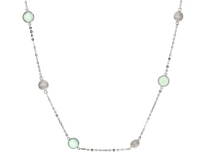 Blue Chalcedony Rhodium Over Silver Necklace 12.00ctw
