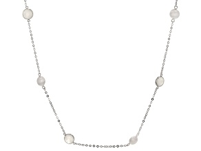 Rainbow Moonstone Rhodium Over Silver Necklace 12.00ctw