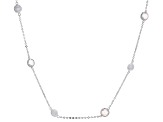 Rose Quartz Rhodium Over Silver Necklace 12.00ctw