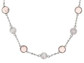 Rose Quartz Rhodium Over Silver Necklace 12.00ctw