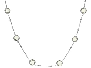 Prasiolite Rhodium Over Sterling Silver Necklace  14.40ctw
