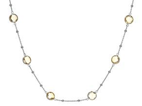 Citrine Rhodium Over Silver Necklace 14.40ctw