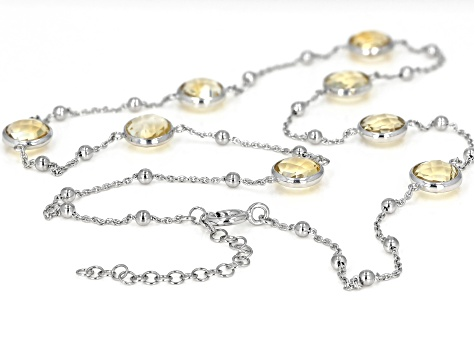 Citrine Rhodium Over Silver Necklace 14.40ctw
