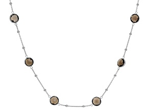 Smokey Quartz Rhodium Over Silver Necklace 16.00ctw