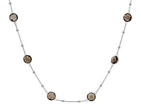 Smokey Quartz Rhodium Over Silver Necklace 16.00ctw