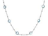 Blue Topaz Rhodium Over Silver Necklace 20ctw