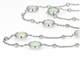 Blue Chalcedony Rhodium Over Silver Necklace 16ctw