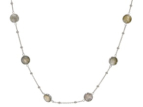 Gray Labradorite Rhodium Over Silver Necklace 16ctw