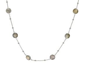 Gray Labradorite Rhodium Over Silver Necklace 16ctw