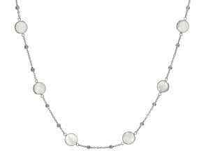 Rainbow Moonstone Rhodium Over Sterling Silver Necklace 16ctw