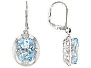Blue Topaz Rhodium Over Sterling Silver Earrings 12.00ctw