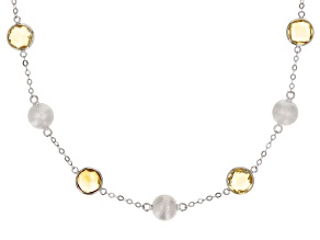 Citrine Rhodium Over Sterling Silver Necklace 10.80ctw