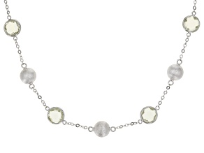 Prasiolite Rhodium Over Silver Necklace 10.80ctw
