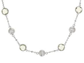 Prasiolite Rhodium Over Silver Necklace 10.80ctw