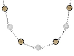 Smoky Quartz Rhodium Over Silver Necklace 12.00ctw