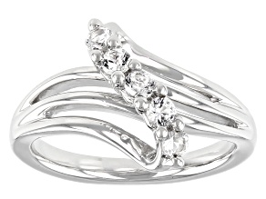 Lab Created White Sapphire Rhodium Over Silver Ring 0.30ctw