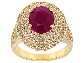 Red Burma Ruby With Round White Zircon 18k Yellow Gold Over Sterling Silver Ring